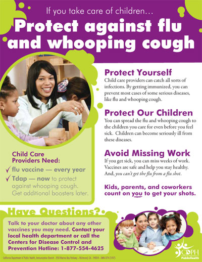 Child Care Flu and Whooping Cough Flyer 7/10